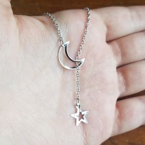 NWOT Silver Moon and Star Necklace